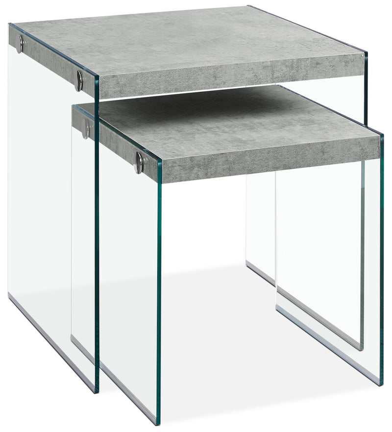 Yonah 2-Piece End Table – Cement Grey|Ensemble 2 tables de bout Yonah – gris ciment