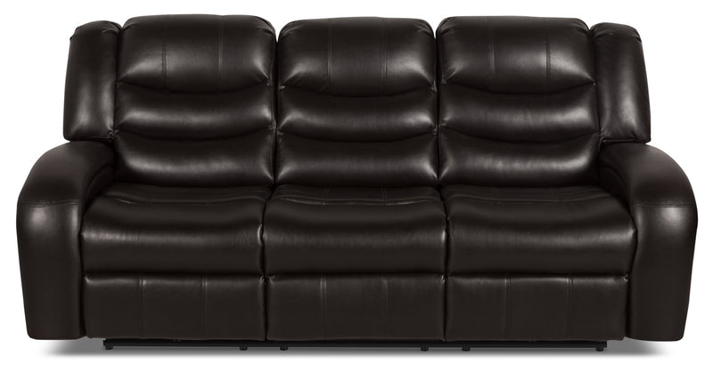 Angus Leather-Look Fabric Reclining Sofa – Dark Brown|Sofa inclinable Angus en tissu apparence cuir – brun foncé