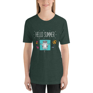 Hello Summer White Short-Sleeve Unisex T-Shirt
