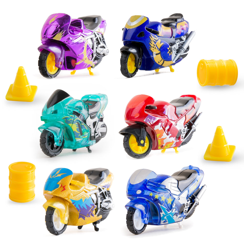 PROLOSO 6 Pack Push & Go Vehicles Friction Powered Speed Toy Inertia Motorcycle Race Motor