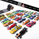 PROLOSO 50 Toy Cars Playset with Road Tapes Bend Stickers DIY Vehicle Tracks Early Learning