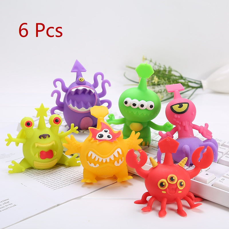 PROLOSO Squishy Toys Fidget Squeeze Monsters Stress Relief 6 Pcs