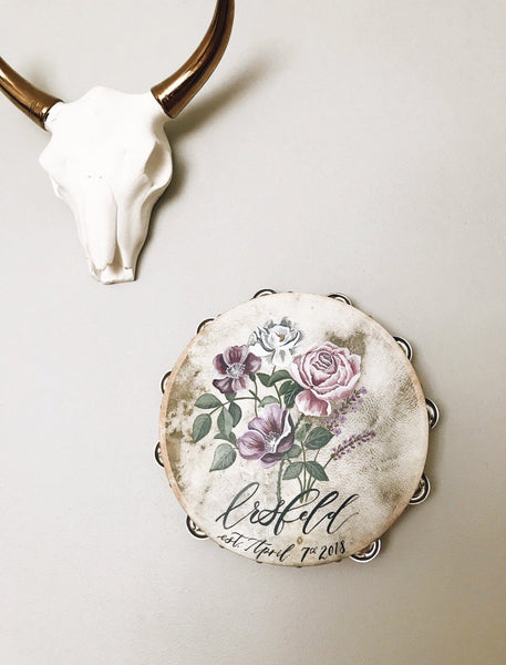 Floral Bridal Party Tambourine - Hand Painted - Bash Creative Design - The Original DIY Bridal Jacket Kits