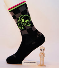 weird and funky alien puppy side of the alien cycling sock