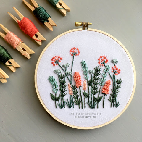 Coral + Mint Meadow Embroidery Kit