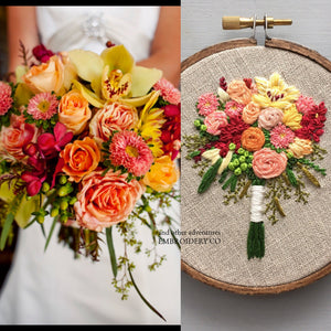 Custom Embroidered Wedding Bouquet by And Other Adventures Embroidery Co
