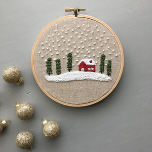 And Other Adventures Christmas Cabin Embroidery Hoop Art