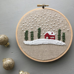 Snowy Christmas Cabin Embroidery Hoop Art by And Other Adventures