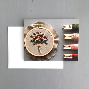 Embroidered Holiday Bouquet Greeting Card by And Other Adventures