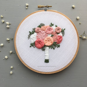 Pale Pink Flower Bouquet Embroidery by And Other Adventures Embroidery Co