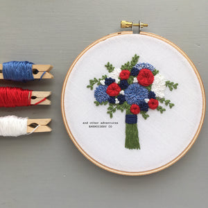 Red, White, and Blue Americana Floral Hand Embroidery Pattern by And Other Adventures