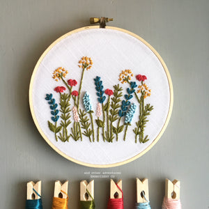 Bright Summer Color Embroidered Florals Pattern by And Other Adventures Embroidery Co
