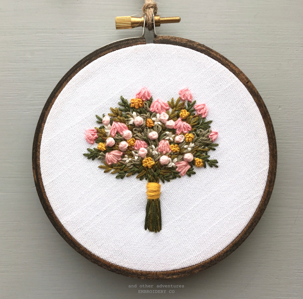 Embroidered spring wildflower bouquet by And Other Adventures Embroidery Co