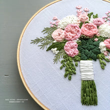 Embroidery Pink Peonies with Succulent Flower Bouquet Art by And Other Adventures Embroidery Co