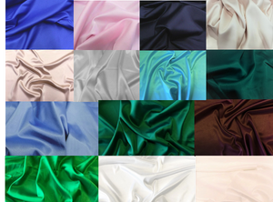 STRETCH Bridal Satin Samples. These ship free!! When checking out, please choose in-store pickup. Thanks