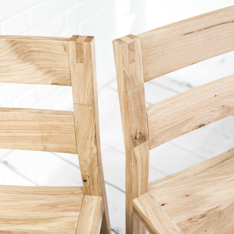 A Pair of Solid Oak Kielder Chairs - Farmhouse Table Company