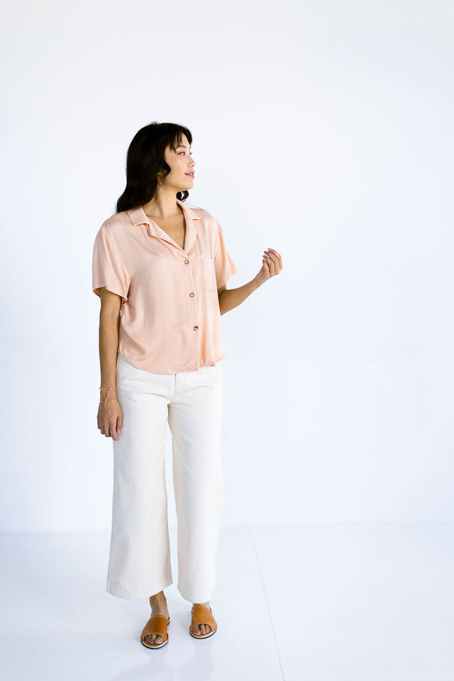 The Button Up Tee in Pink Sand