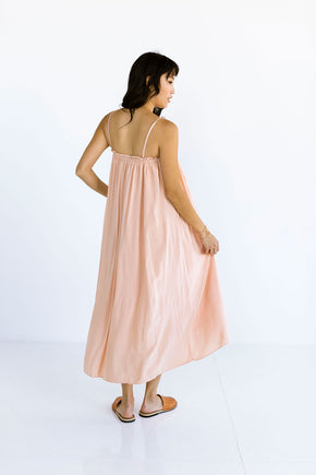 The Maxi Tie Dress in Pink Sand