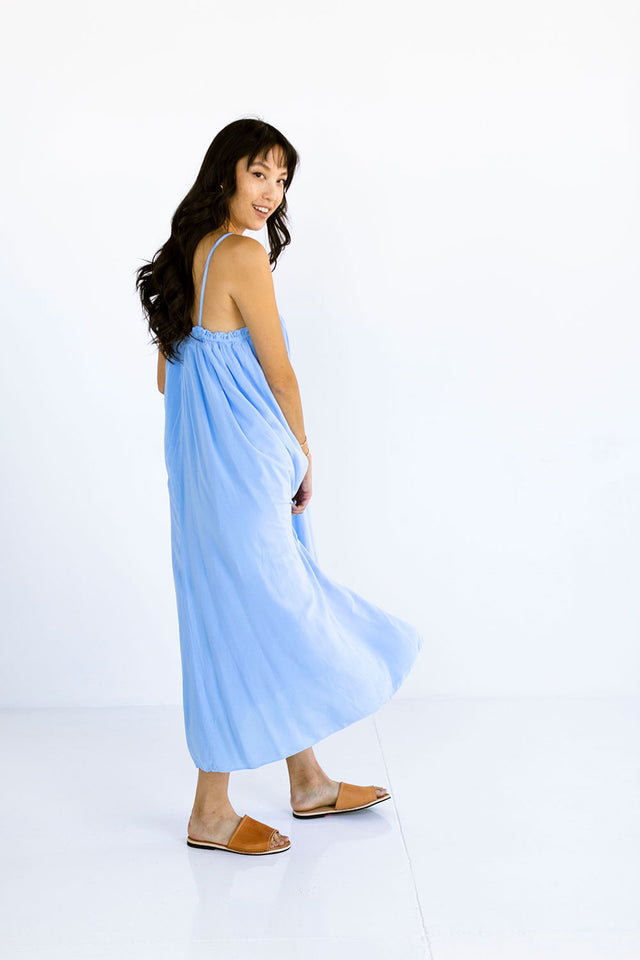 The Maxi Tie Dress in Chambray Blue