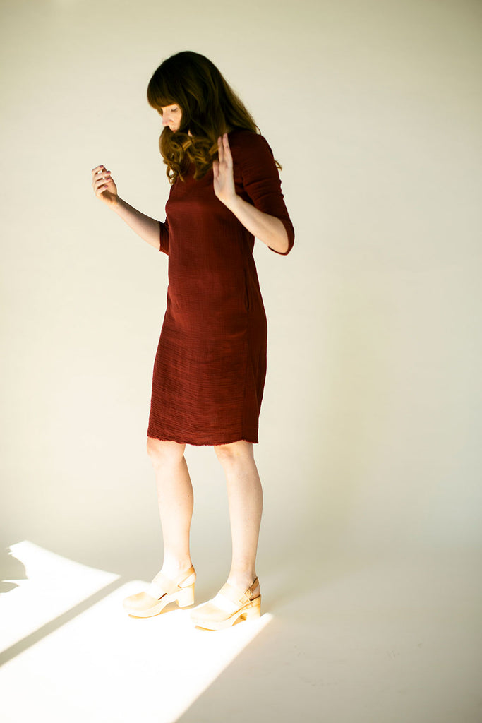 The Gauze Charlie Dress in Red Pear