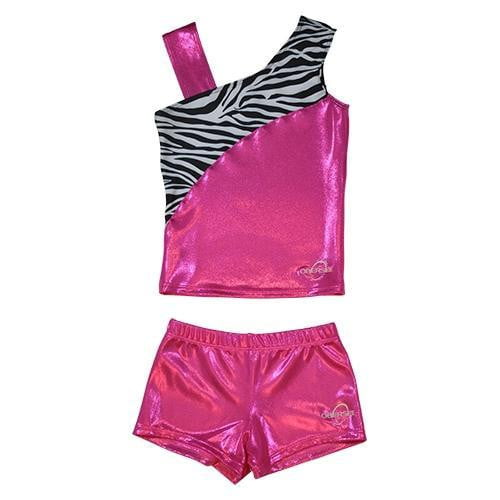 O3CHSET033 - Obersee Cheer Dance Tank and Shorts Set - Pink Zebra - Obersee