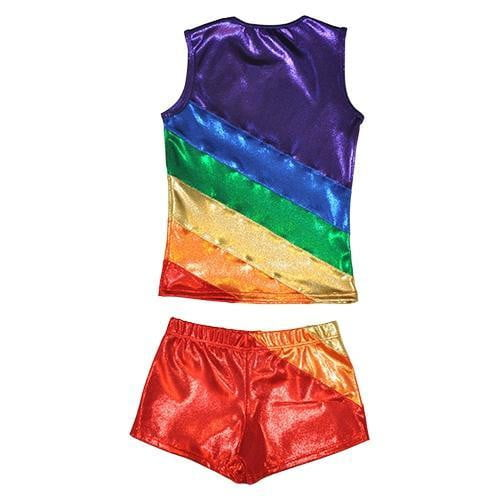 O3CHSET007 - Obersee Cheer Dance Tank and Shorts Set - Rainbow - Obersee