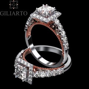 1.5 Carat Adara Princess  Moissanite Diamond Halo Engagement Ring - Giliarto