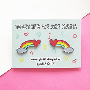 Together We Are Magic Rainbow Pin Set by Angela Chick