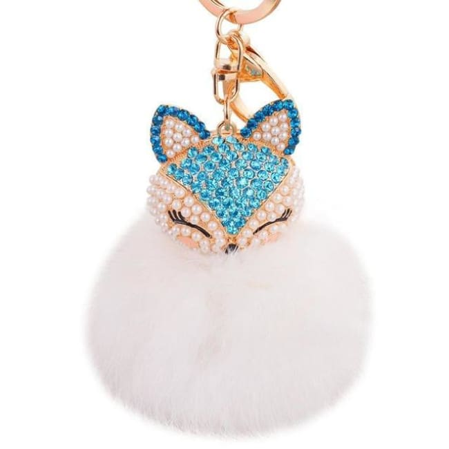 Foxy Roxy Cute Fur Pom Pom Ball Keychain - Blue White - Key Ring
