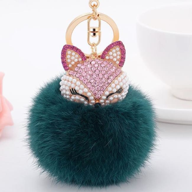 Foxy Roxy Cute Fur Pom Pom Ball Keychain - Green - Key Ring