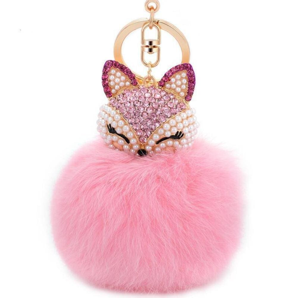 Foxy Roxy Cute Fur Pom Pom Ball Keychain - Key Ring