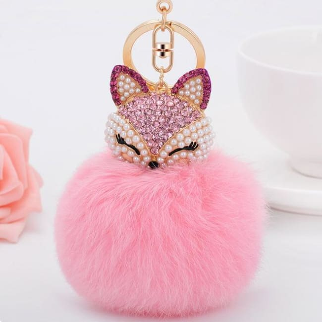 Foxy Roxy Cute Fur Pom Pom Ball Keychain - Pink - Key Ring