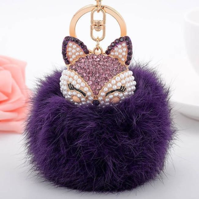 Foxy Roxy Cute Fur Pom Pom Ball Keychain - Purple - Key Ring
