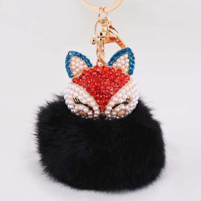 Foxy Roxy Cute Fur Pom Pom Ball Keychain - Red Black - Key Ring