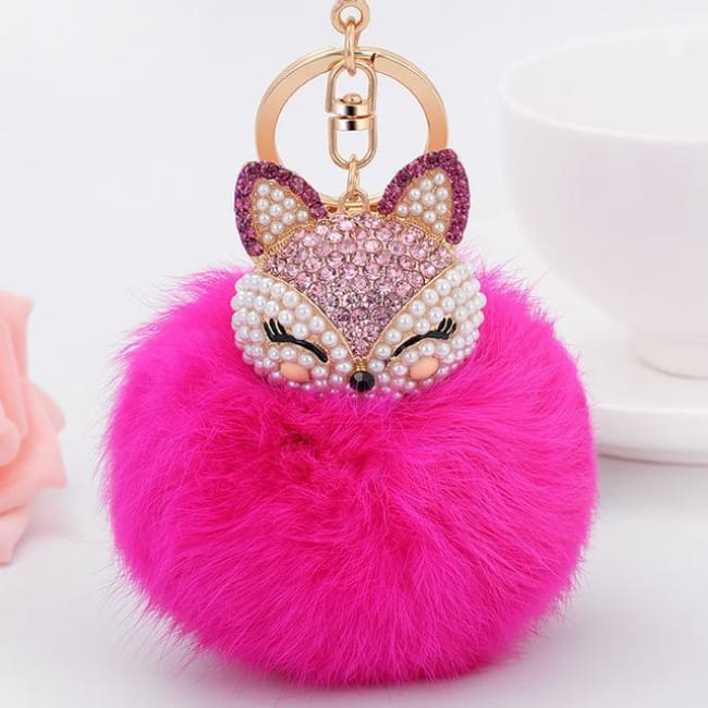 Foxy Roxy Cute Fur Pom Pom Ball Keychain - Rose Red - Key Ring