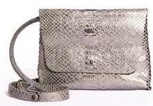 lapa bag | silver snake-print leather
