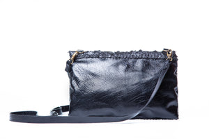 marais small bag | black pirarucu leather