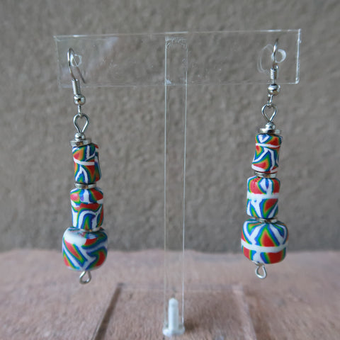 African Kalahari Tiered Multicolored Hook Earrings