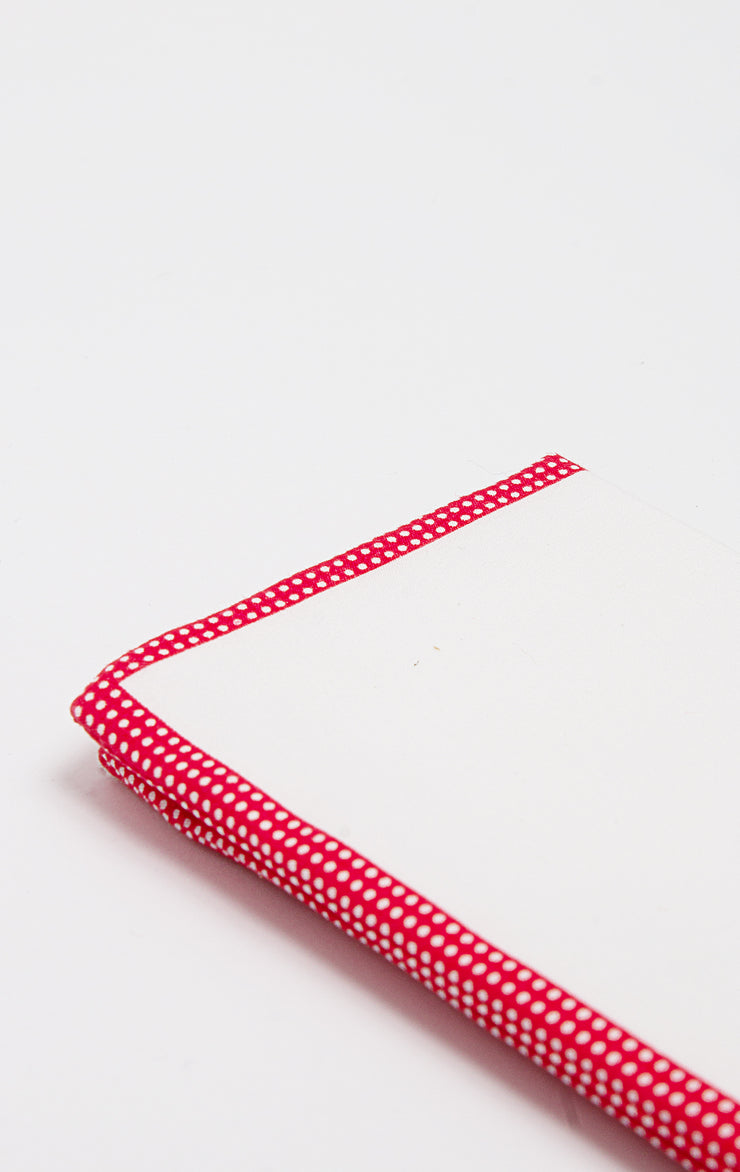 RED POLKA PIPE POCKET SQUARE