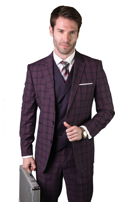 EDMUND EGGPLANT MODERN FIT 3 PC SUIT