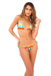 OCEAN WHISPERS - Triangle Top & Wavey Ruched Back Brazilian Tie Side Bottom • Multicolor