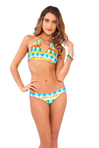 OCEAN WHISPERS - Key Hole Halter Top & Lo Rise Hipster Bottom • Multicolor