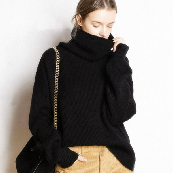 Women Casual Cashmere Turtleneck Loose Sweaters Long Pullovers Knitted Jumpers-elatestore -elatestore