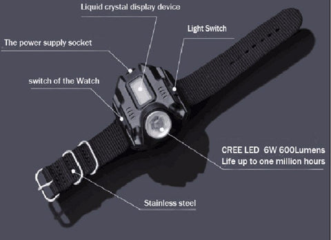 AMAZING RECHARGEABLE FLASHLIGHT TACTICAL WATCH
