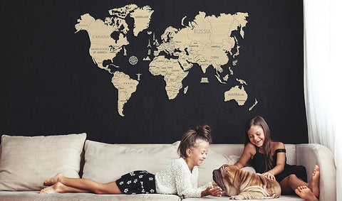 3D Wooden World Map with kids