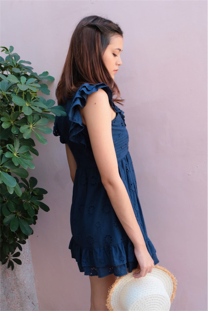 TRUFFLE RUFFLE SLIP DRESS (NAVY)