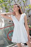 TRUFFLE RUFFLE SLIP DRESS (WHITE)