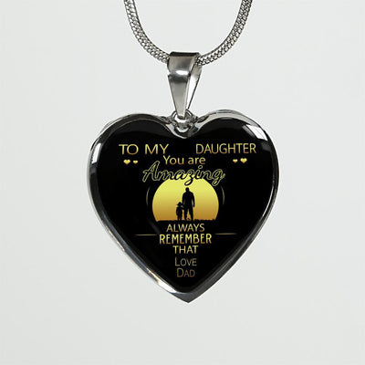 To My Daughter, You Are Amazing (Sun at Dawn) - Silver Finished Heart Necklace - podprintz.com