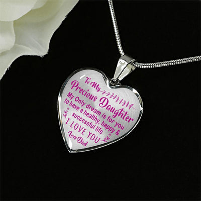 TO MY PRECIOUS DAUGHTER - (PINK ON TRANSPARENT) SILVER FINISHED HEART NECKLACE - podprintz.com