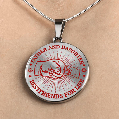 FATHER DAUGHTER FIST BUMP BEST FRIENDS - (RED ON TRANSPARENT) SILVER FINISHED CIRCLE NECKLACE - podprintz.com